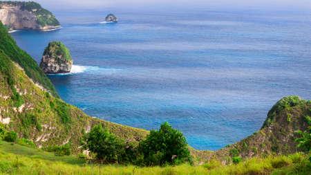 Coastline, Thousand Island, near Manta Bay or Kelingking Beach on Nusa Penida Island, Bali, Indonesia