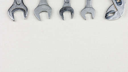 chrom: Group of wrenches heads. Wrenches in several different sizes on white background Stock Photo