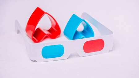 3d glasses with red and blue hearts represent love for cinema