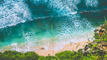 Top Aerial view of Nunggalan Beach near Uluwatu, Bali, Indonesia Banco de Imagens