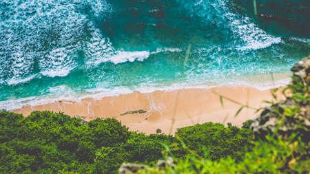 Top Aerial view of Nunggalan Beach near Uluwatu, Bali, Indonesia Stock Photo