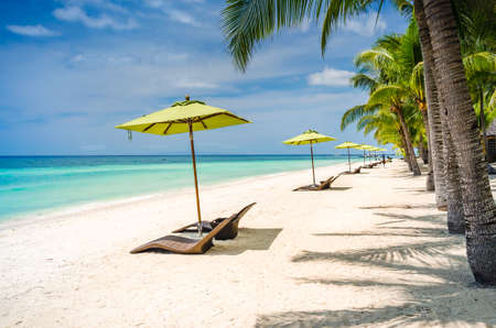 Tropical beach background at Panglao Bohol island with Beach chairs on the white sand beach with blue sky and palm trees. Travel Vacation
