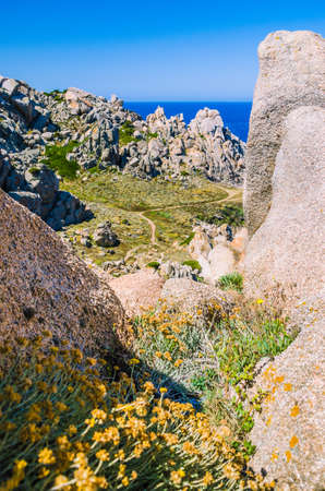 capo: Path betweeen bizarre granite rock formations in Capo Testa, Sardinia, Italy