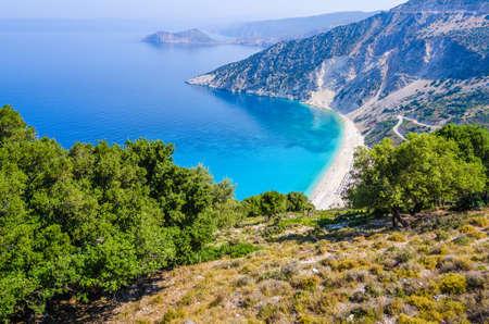 cefalonia: Aerial View of beautiful Myrtos Bay and Beach on Kefalonia Island, Greece