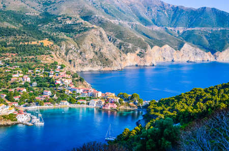 ionio: Traditional fishing village of Assos at Kefalonia island in Greece. Stock Photo