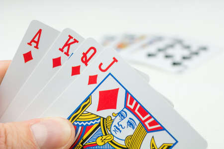Playing cards in poker. One card more - will be an Royal Flush