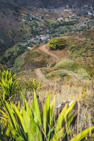 Steep trekking path going from Corda down the canyon to Coculi. Santo Antao Island, Cape Verde Cabo Verde Banco de Imagens