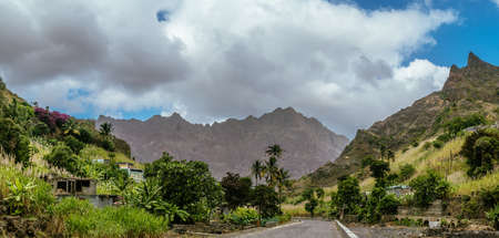 Desolate road lead among remote villages towards the ridges of Santo Antao Cape Verde