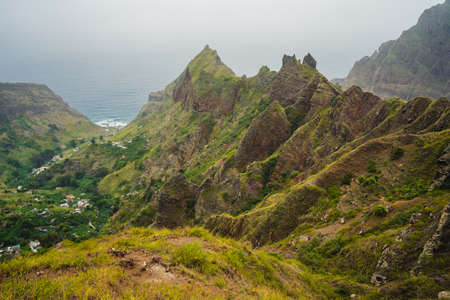 Amazing Landscape of harsh rugged mountain peaks of Ribeira de Janela and village in the valley. Santo Antao Cape Cabo Verde