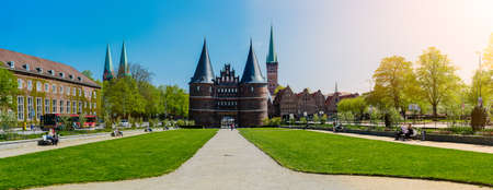 LUEBECK, GERMANY - April 29 2018: The Holsten Gate in Luebeck Editorial