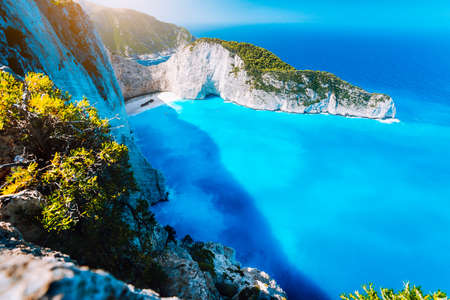 Panorama of Navagio beach Shipwreck bay Zante from view point. Zakynthos Greece Imagens