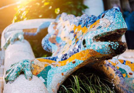Multicolored Mosaic Salamander El Drac, Park Guell, Barcelona, Catalonia, Spain, Europe