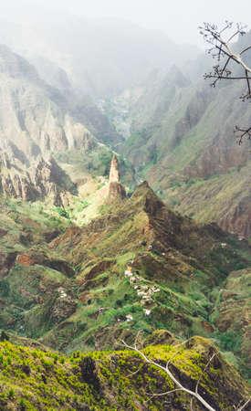 Breathtaking panorama of deep lush ribeira surrounded by towering peaks. Verdant Xo-Xo valley on Santo Antao Island Cape Verde