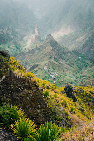 Great scene of the green Xo Xo valley. Mountains in dust. Santo Antao Island, Cape Verde Cabo Verde