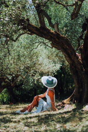 Beautiful elegant woman with straw hat sitting under an olives tree Stock Photo