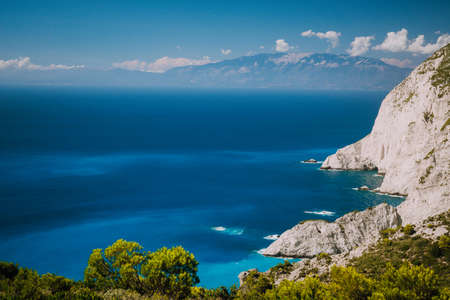 Zakynthos steep coastline, limestone cliffs on the western part of island. Greece Stock Photo