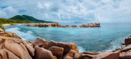 Remote Tropical Beach on La Digue. Beautiful exotic panorama at Seychelles Island