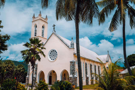 St. Roch Roman Catholic Church in the small location Beau Vallon, Mahe Island, Seychelles. Stock Photo - 123541366