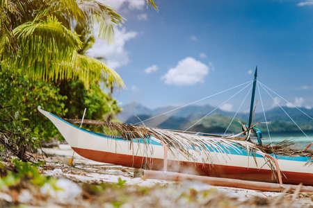 Close up of wooden local banca boat in front on the tropical beach covered with dry palm leaves, picturesque scenery at warm sunlight, Palawan, Philippines