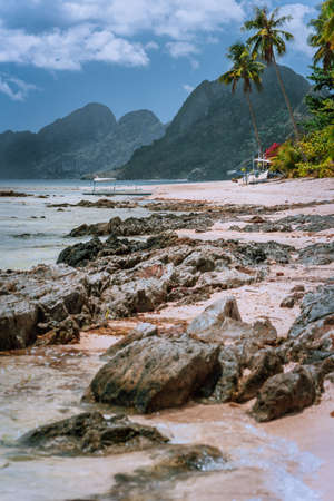 Beautiful amazing nature scenery. Tropical landscape in Philippines. beach at low tide with great mountains. Travelling around Asia