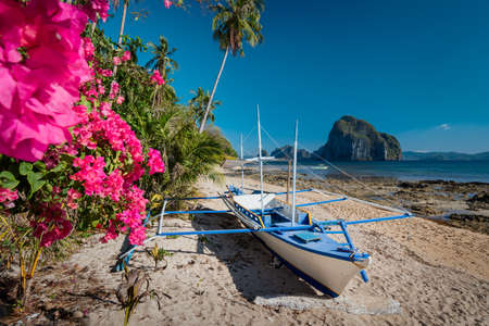 Native banca boat and vibrant flowers at Las cabanas beach with amazing Pinagbuyutan island in background. Exotic nature scenery in El Nido, Palawan, Philippines Stok Fotoğraf