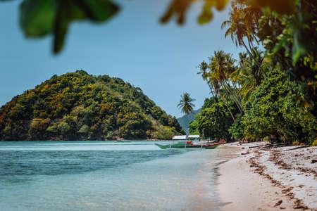 Vacation on beautiful tropical island, relax chill getaway enjoy summer in El Nido, Palawan island, Philippines Stok Fotoğraf