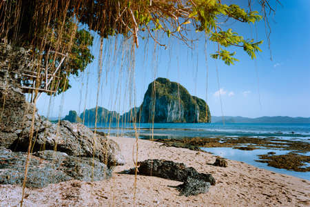 Philippines natural scenery beach at low tide, wooden bower at the tree, amazing Pinagbuyutan island in background. Exotic nature sea shore in El Nido, Palawan