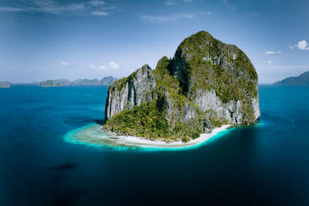 El Nido, Palawan, Philippines. Aerial drone panoramic picture of Pinagbuyutan Island from the distance Stok Fotoğraf