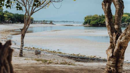 Scenic shot of Nusa Dua beach during low tide. Bali, Indonesia