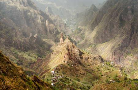 Santo Antao, Cape Verde. Mountain peak in arid Xo-Xo valley. Scenic impressive landscapes of mountain range
