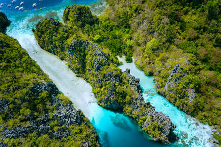 Aerial view of The Big Lagoon entrance pass, Miniloc Island. Beautiful landscape scenery in El Nido, Philippines