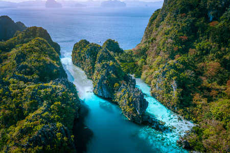 Aerial drone view of entrance to Big and Small Lagoon surrounded by steep cliffs El Nido, Palawan Philippines Reklamní fotografie