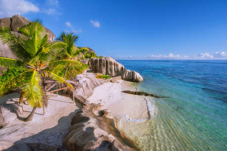 Highlights of Seychelles - most beautiful epic Anse Source DArgent beach, La Digue Reklamní fotografie