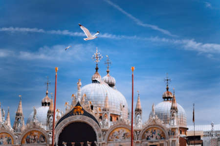Piazza San Marco Saint Mark Square with Basilica di San Marco. Roof architecture details with flying seagull bird against blue sky in Venice,Italy. Tourist attraction, summer city trip