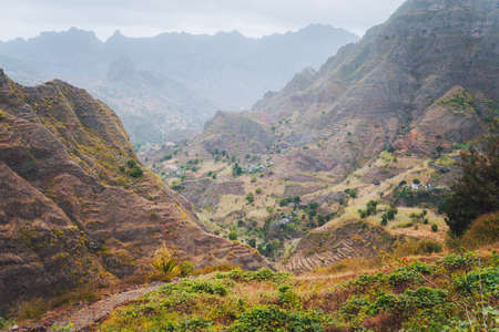Vertiginous trekking trails leading between mountain hills down to the Coculi valley. Santo Antao Island, Cape Verde