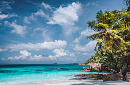 Perfect tropical tranquil beach. Pristine crystal clear ocean water with blue sky and white clouds. Summer time vacation and lifestyle. Фото со стока