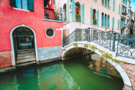 Venice, Italy. Ponte Giustinian bridge over a canal located in Campo San Vidal