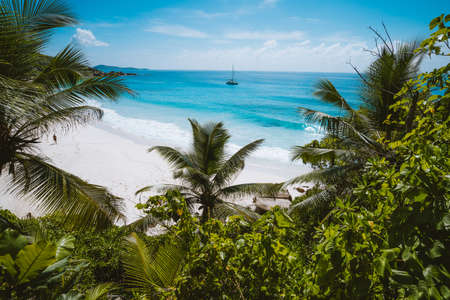 Holiday vacation at Petite Anse paradise beach framed by green foliage. La Digue island, Seychelles.