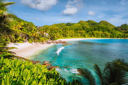 Mahe Island, Seychelles. Holiday vocation on the beautiful exotic Anse intendance tropical beach. Ocean wave rolling towards sandy beach with coconut palm trees.