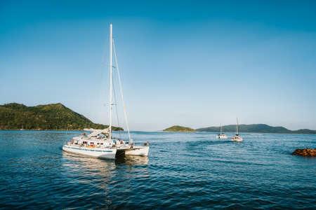 Catamaran at the island of Praslin, Seychelles