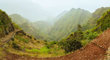 Santa Antao island in Cape Verde. Panoramic view of the fertile ravine valley with volcanic mountain ridge