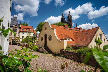 Fable fairy tale Meissen old town. Beautiful Albrechtsburg Castle. Old orange tiled roof buildings. Dresden, Saxony, Germany. Sunny Day