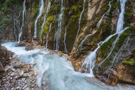 Wimbachklamm gorge wich beautiful water streams near Berchtesgaden, Bavaria, Germany Stock Photo
