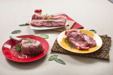 contra: beef, 3 cuts, sirloin steak with bone, rib Stock Photo