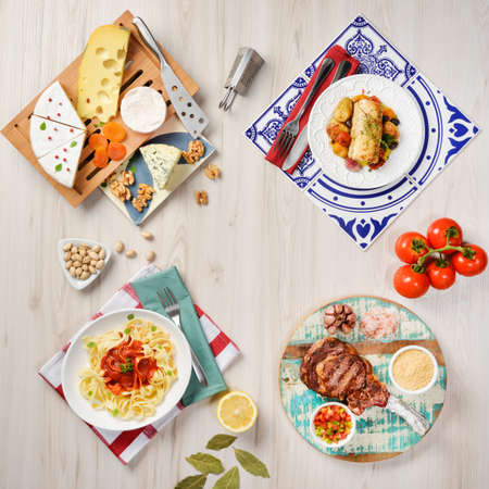 various cheeses, Portuguese codfish, Tagliatelle to suck and Sirloin Steak grilled with bone