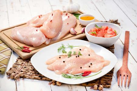 chicken fillet: Chicken fillet, garlic, pepper Stock Photo