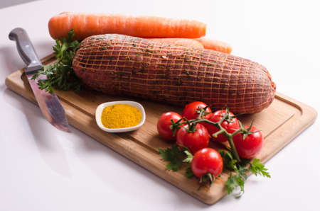 Stuffed meat with vegetables Banco de Imagens