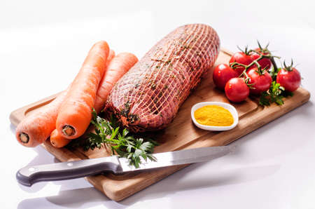 Stuffed Meat piece, garlic, tomatoes, carrot
