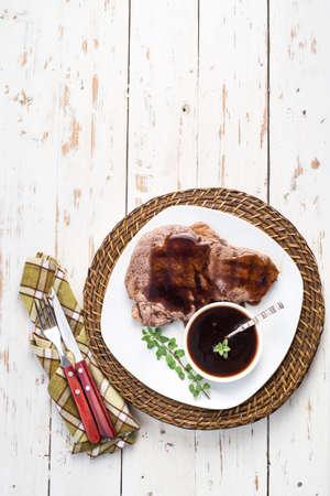 rump steak: Rump steak with beer sauce Stock Photo