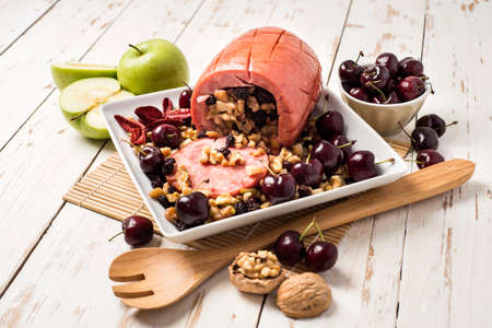 crumbly: Tender stuffed with crumbly dried fruit, and cherries